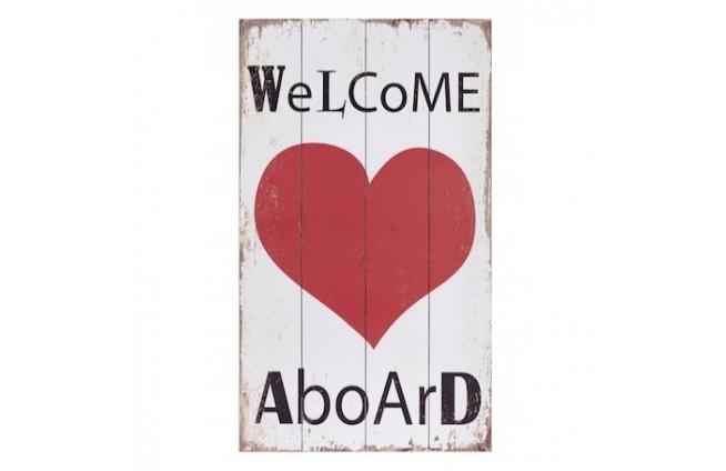 """Holzplatte """"welcome aboard"""" mit Herz"""
