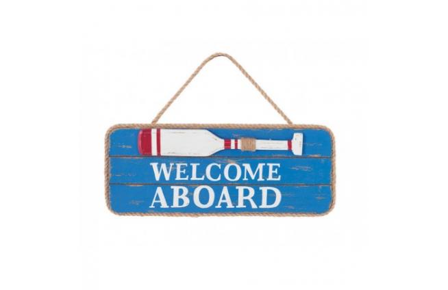 "Holzplatte ""welcome aboard"""