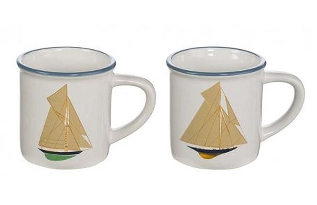 Set 4 Tasse mit Segelboot