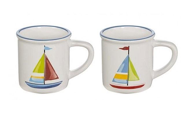 Set 4 Mugs mit Segelschiff