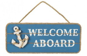 """Welcome Aboard"" Holzplatte"